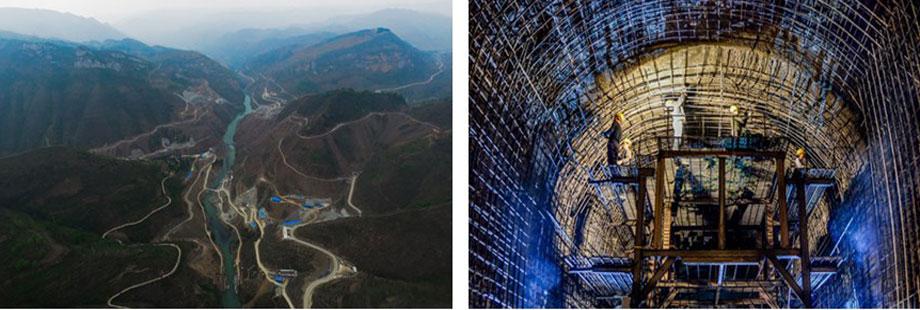 夹岩水利枢纽工程水源区施工全景图