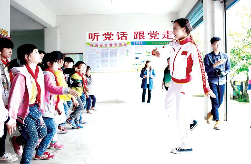 蹦床世锦赛冠军蔡琪子成贵阳一学校特约体育老